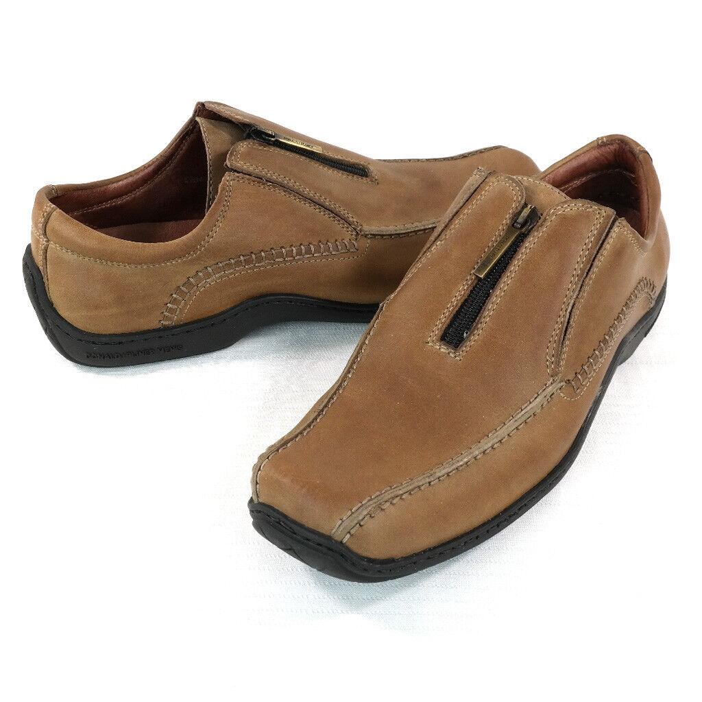 Donald J Pliner Mens Ernie Saddle Tan Leather Zip Up Driving Loafers 8.5 M