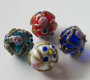 20pcs-12mm-Round-Lampwork-Glass-Beads-Wedding-Cake-Style-Mixed-Colour