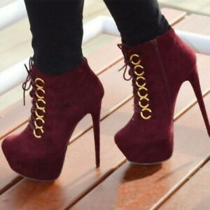 Women-039-s-Lace-Up-Ankle-Boots-Platform-High-Heels-Round-Toe-Stilettos-Shoes-Zipper