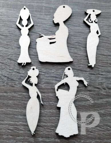 10 natural wooden earrings making laser cut African woman silhouette traditional