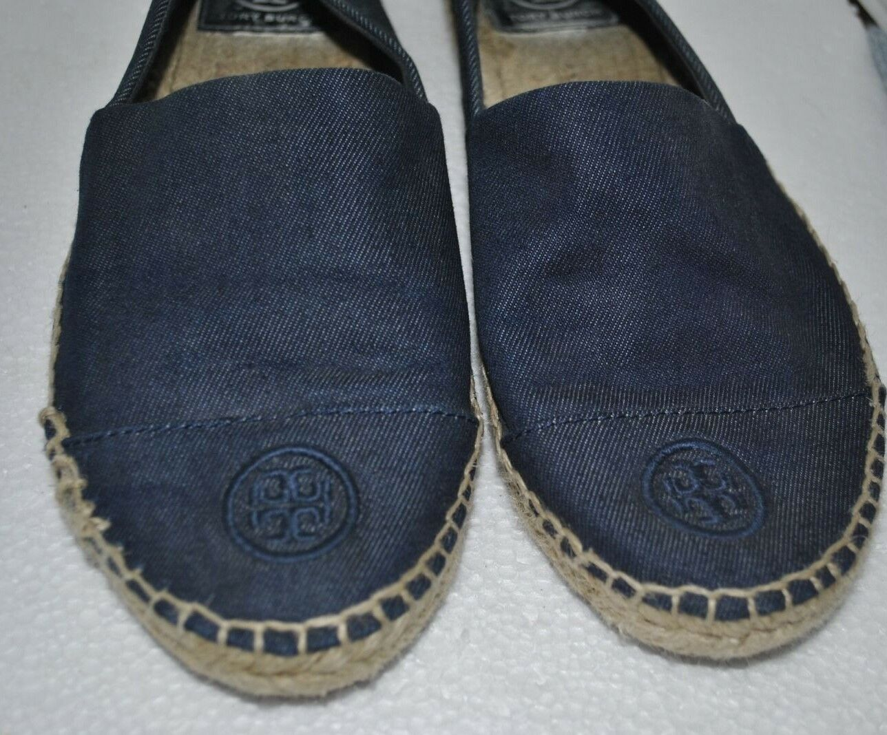 Tory Burch Flat Logo Espadrilles in Denim Navy Blau Casual Größe 10M PREOWNED