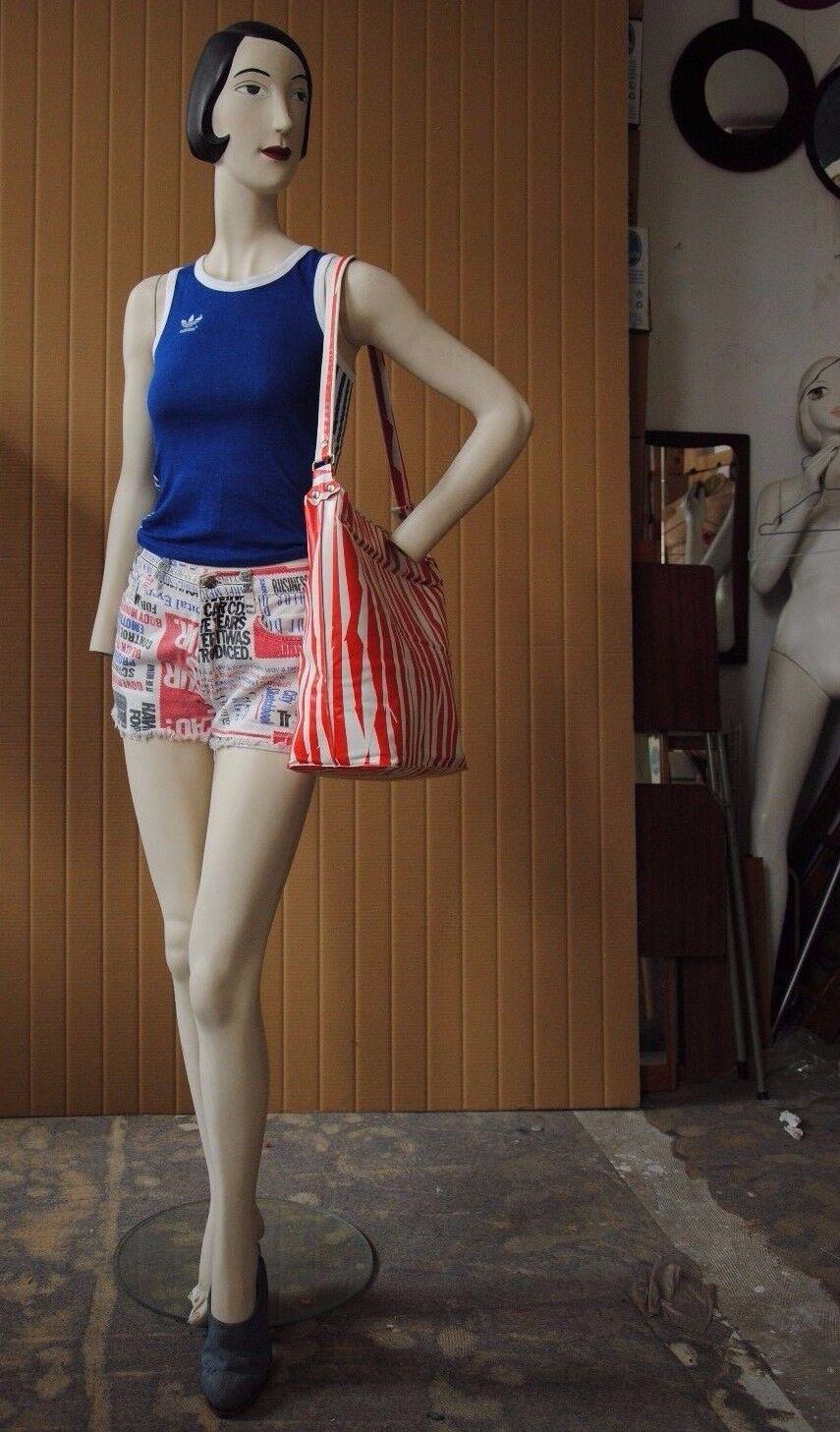 JEANS SHORTS newspapercolumn Print culotte da donna 90er True Vintage 90s Trousers bianca