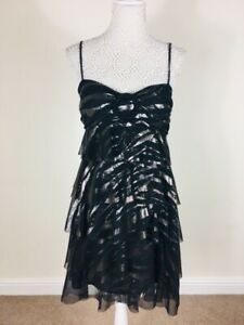 Star-by-Julien-Macdonald-Black-Metallic-Tiered-Ruffle-Cami-Dress-Size-UK-14