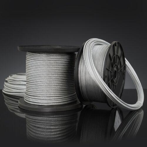 4mm FUNE ACCIAIO ZINCATO filo metallo corda cavo cima galvanizzato 1m 100m