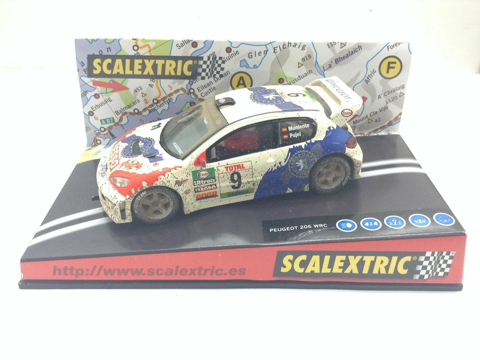6051 Peugeot 206 WRC Effetto Fango Scalextric 1 32 Nuovo nº 9