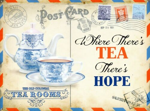 Tin Sign Where There/'s Tea There/'s Hope Cream 40 x 30cm