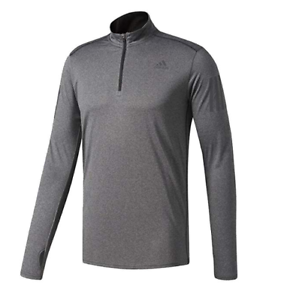 Adidas Mens Response Long Sleeve Zip Tee B47699 in Grey Sz. S-L New With Tags