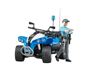 Police Quad bike + figure female policeman Bruder Toy Car Model 1 16 1 16