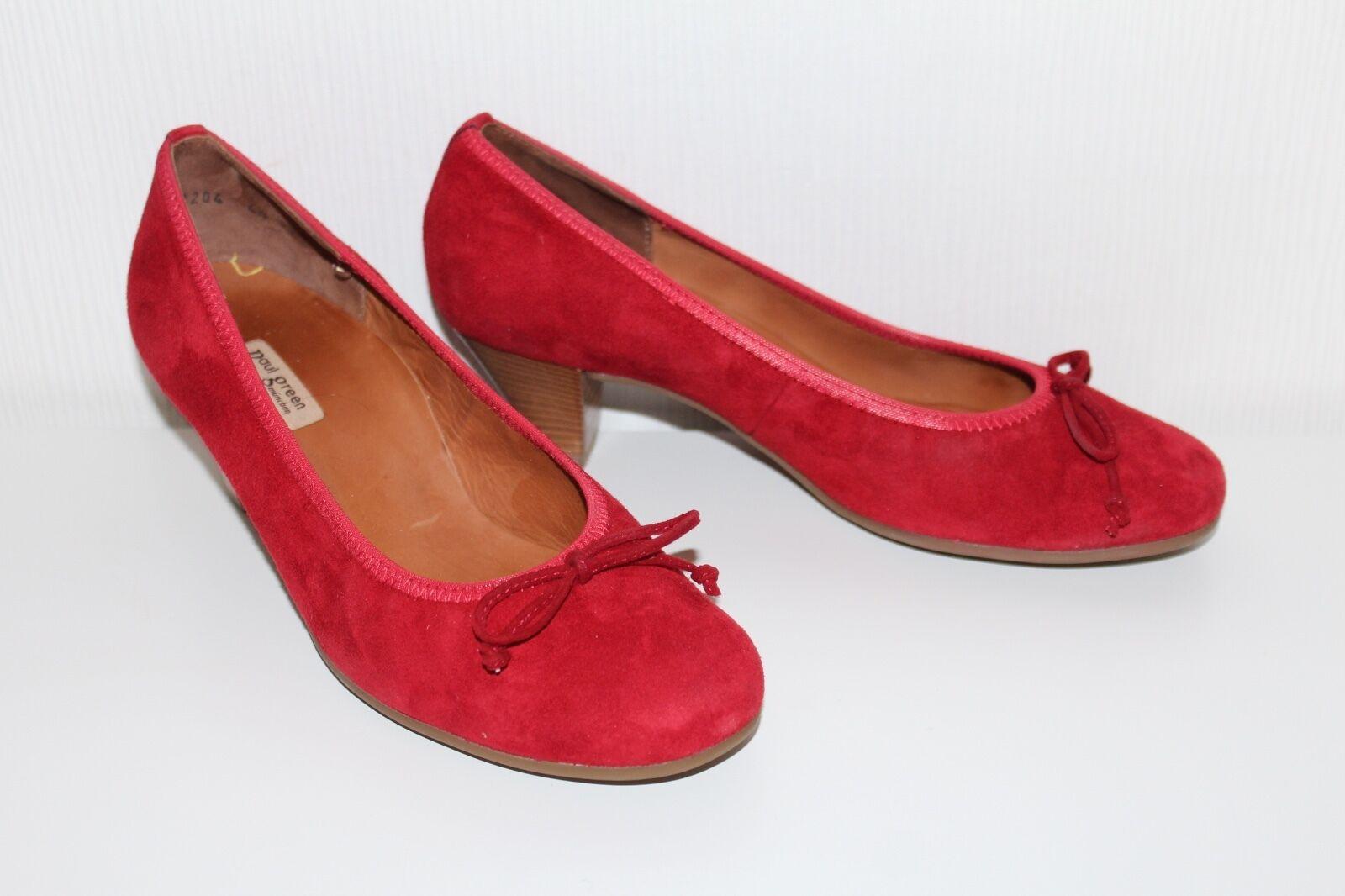 PAUL GREEN PG München Damen PUMPS Schuhe 37 UK4.5 Wildleder LEDER ROT HEELS