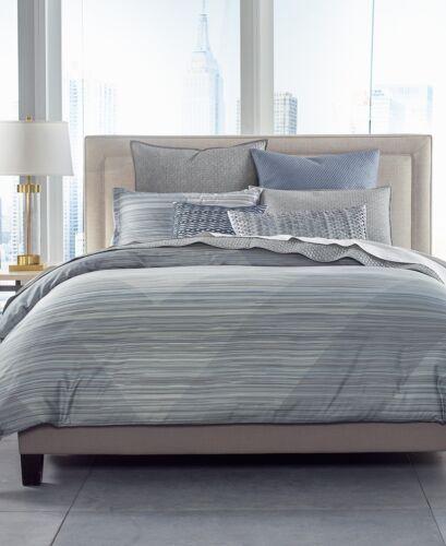 Hotel Collection Cotton Diamond Stripe FULL//QUEEN Comforter Grey $385 G2192