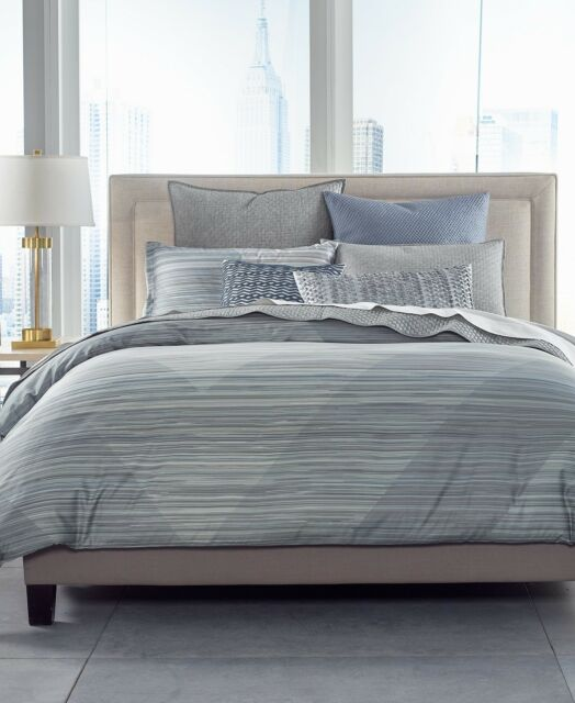Hotel Collection Cotton Diamond Stripe Full Queen Comforter Grey 385 I052
