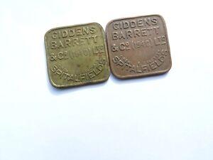 """""""GIDDENS BARRETT & CO LTD"""" SPITALFIELDS MARKET 2 SHILLINGS & 5 SHILLINGS TOKENS"""