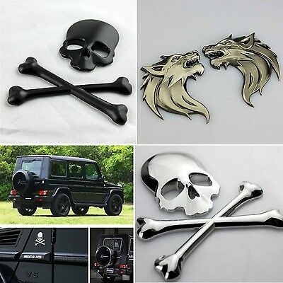 New Fashion Car motorcycle Auto Logo 3D Metal Emblem Badge Decals Skeleton Wolf
