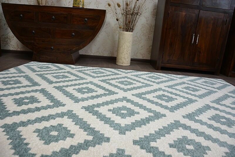 Modernen Weich angenehm Teppich  SKETCH  türkis creme - - - Trellis - Gürtel - Stern | Deutschland Berlin  89b5b0