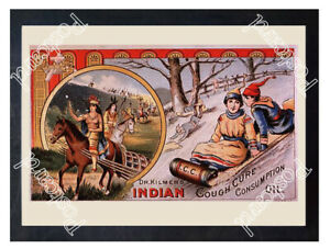 Historic-Dr-Kilmer-039-s-Indian-Cough-Cure-Advertising-Postcard