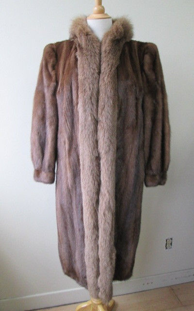 Women's Sz 12 Demi-Buff Mink Fur Coat with Fox Collar SUPERB CLEARANCE SALE