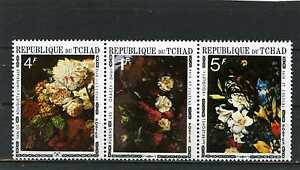Art Trustful Chad 1971 Sc#236a Paintings Flowers Strip Of 3 Stamps Mnh Stamps