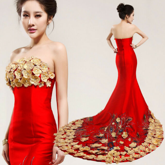 Red Strapless Long Evening Prom Wedding Mermaid Dress Ball Gown Peacock feathers