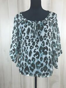 ND New Direction Women Dolman Blouse Size Small Multicolor Brown Animal Print