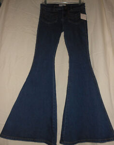 FREE-PEOPLE-W-26-NWT-Blue-Denim-Stretch-Super-Bell-Bottom-Jeans-Disco-70s-26X33