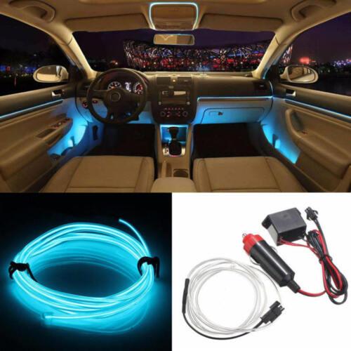 2M EL Wire LED Car Auto Interior Decor Fluorescent Neon Strip Cold Lamp Tape 12V