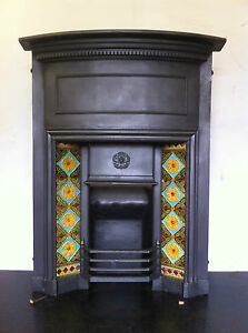 Original Restored Antique Cast Iron Edwardian Fireplace Tiled Insert (EM100)