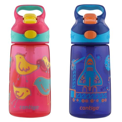 Contigo AUTOSPOUT Striker Kids Straw Water Bottle 14oz Set Pink Bird /& Blast Off