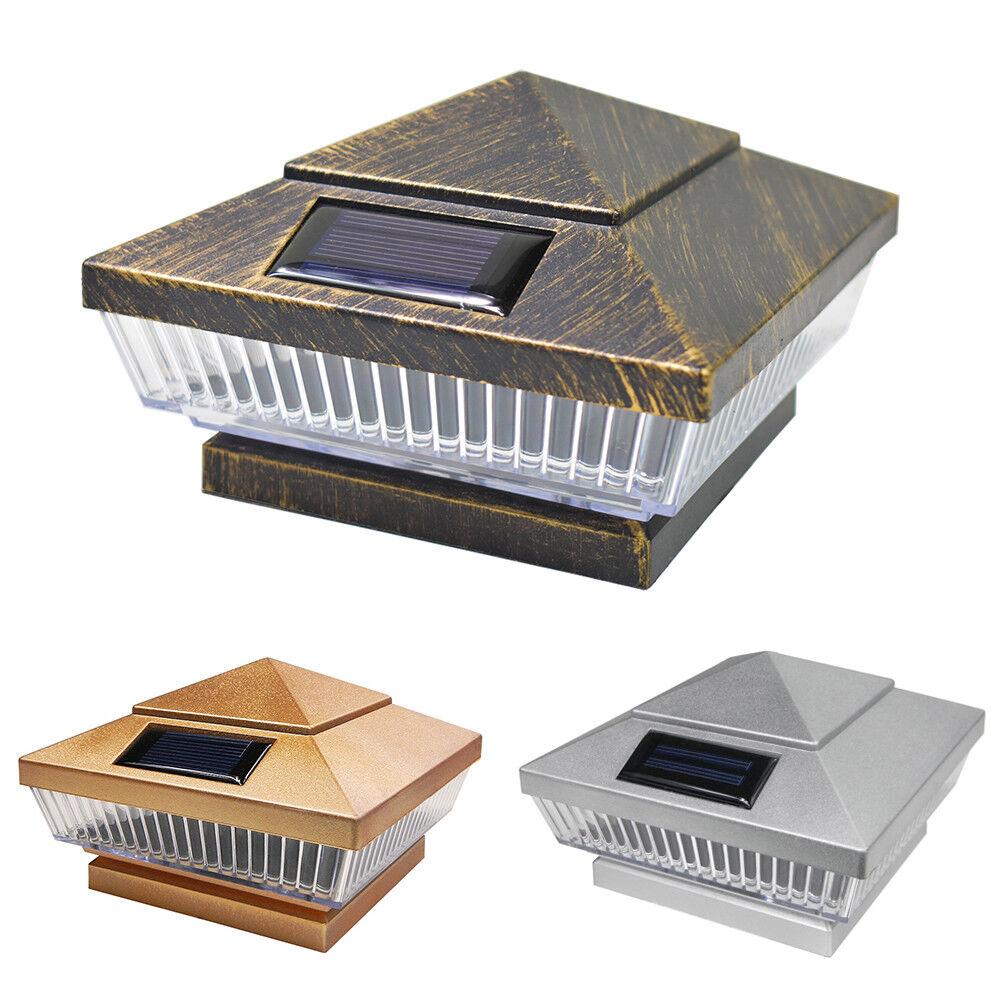 8 Cobre Plata Vintage Bronce Solar 5 LEDs Luz de valla Cuadrado Tapa De Cubierta Post