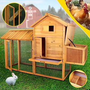 "Wooden 83"" Chicken Coop Hen House Pet Animal Poultry Cage Rabbit Hutch w/Run"