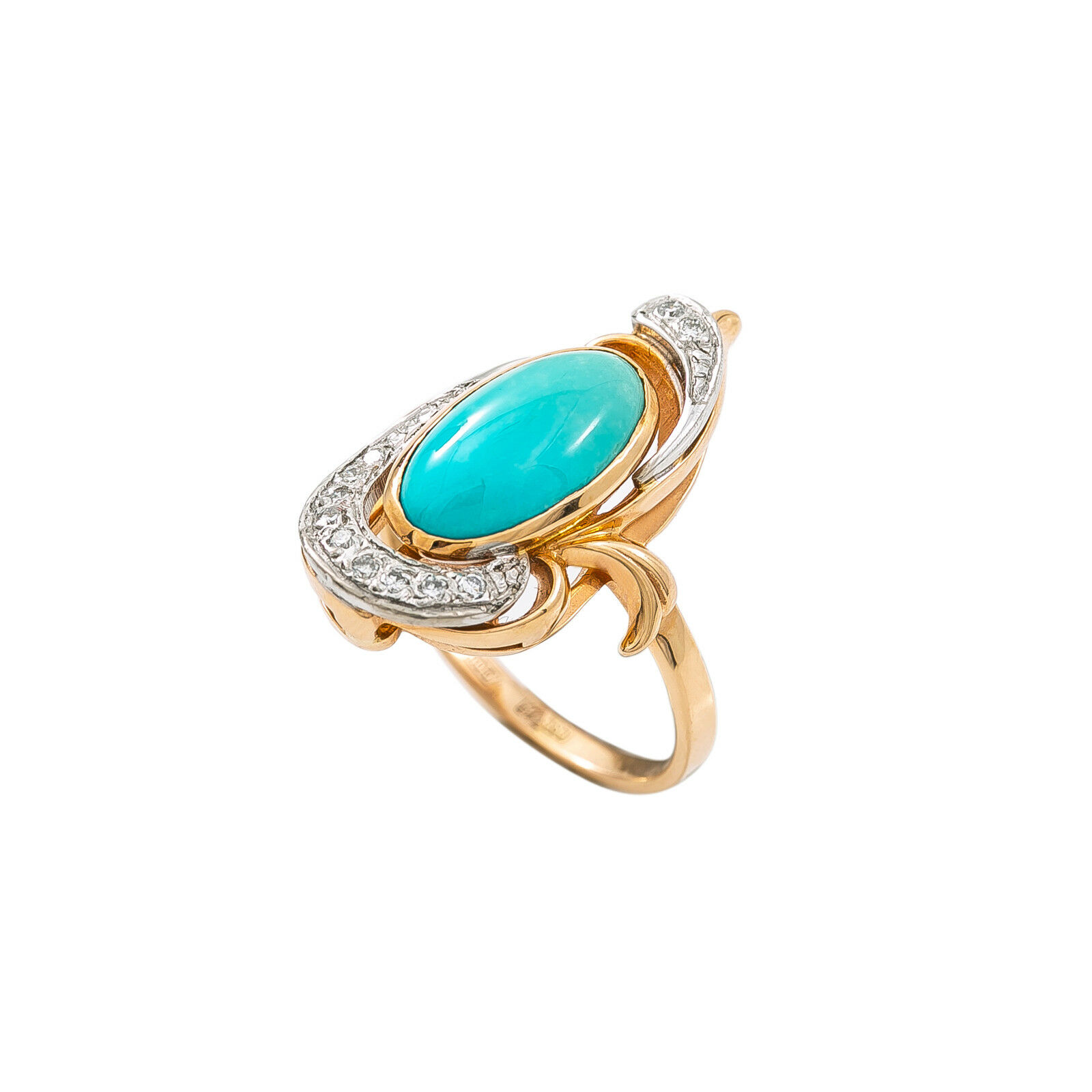 14K Two Tone pink gold 0.11 Ct Diamond Turquoise Ring 6.3 Grams Size 7.75