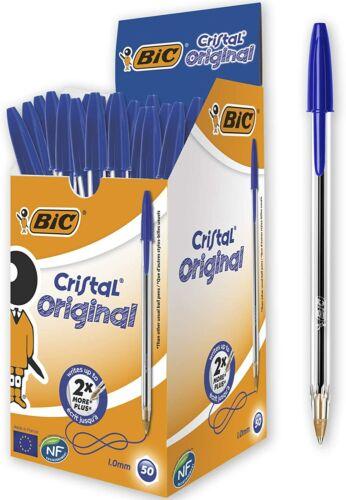 BIC Cristal Original Ballpoint Pen Medium Point 1.0 mm Blue 1 Box of 50 Pens
