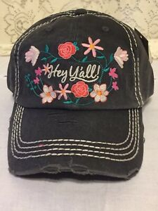 ca165e206 Details about HEY Y'All Embroidered Floral Design Factory Distressed  Baseball Cap Black Hat