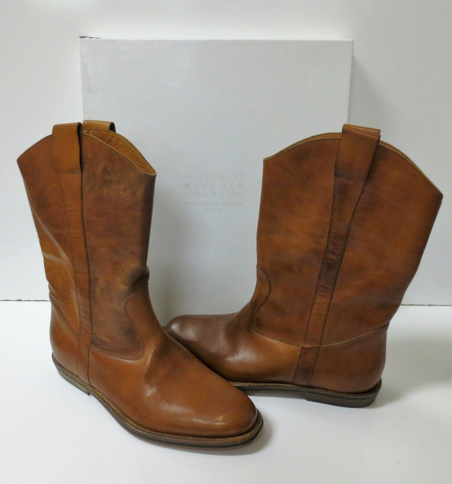 Maison Martin Margiela Distressed Brown Leather Western Boots NEW Sz 38  995