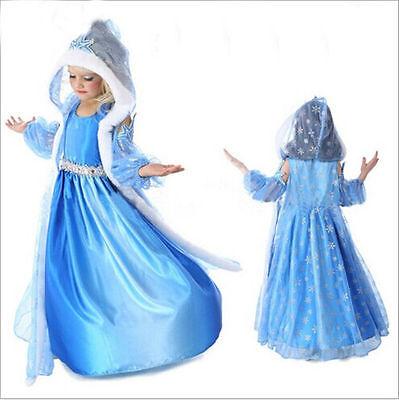 Frozen Princess Queen Elsa Cosplay Party Fancy Dress Hat Cape Costume Girls.Gift
