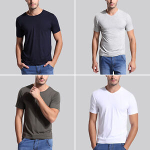 Men-Short-Sleeve-Shirt-Bamboo-Fiber-top-Round-amp-V-Neck-all-size-US-S-3XL-8-color