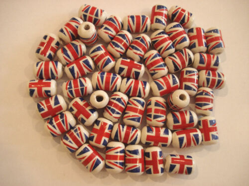 40x Union Jack Cylindre Shape Hand made Céramique BEADS for craft//Fabrication de Bijoux