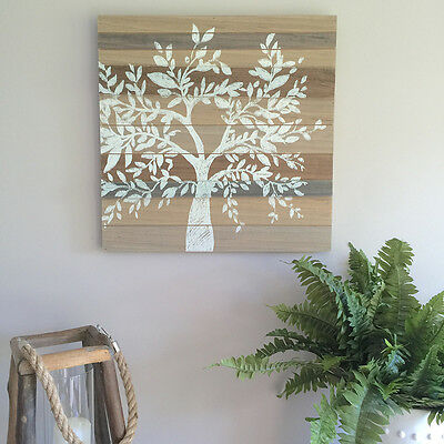 White Painted Tree Plank Sign/Ready to Hang Wall Decor/Wood/Vintage/Neutral