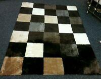 Sheepskin Faux Fur Square Design Brown And Beige Colour Rug 145cm