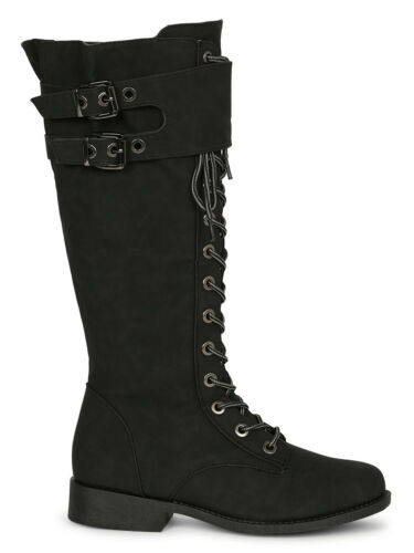 Women Leatherette Buckled Lace Up Combat Knee High Boots 19625