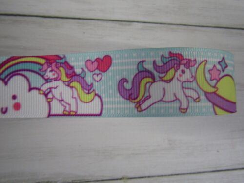 "Unicorn Sleepy opciones de Cinta de Grogrén arcos Pasteles Manualidades 1/"" 25 mm"