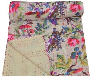 Indian Bird Print Twin//Single Kantha Handmade Quilt Cotton Bed Cover Throw