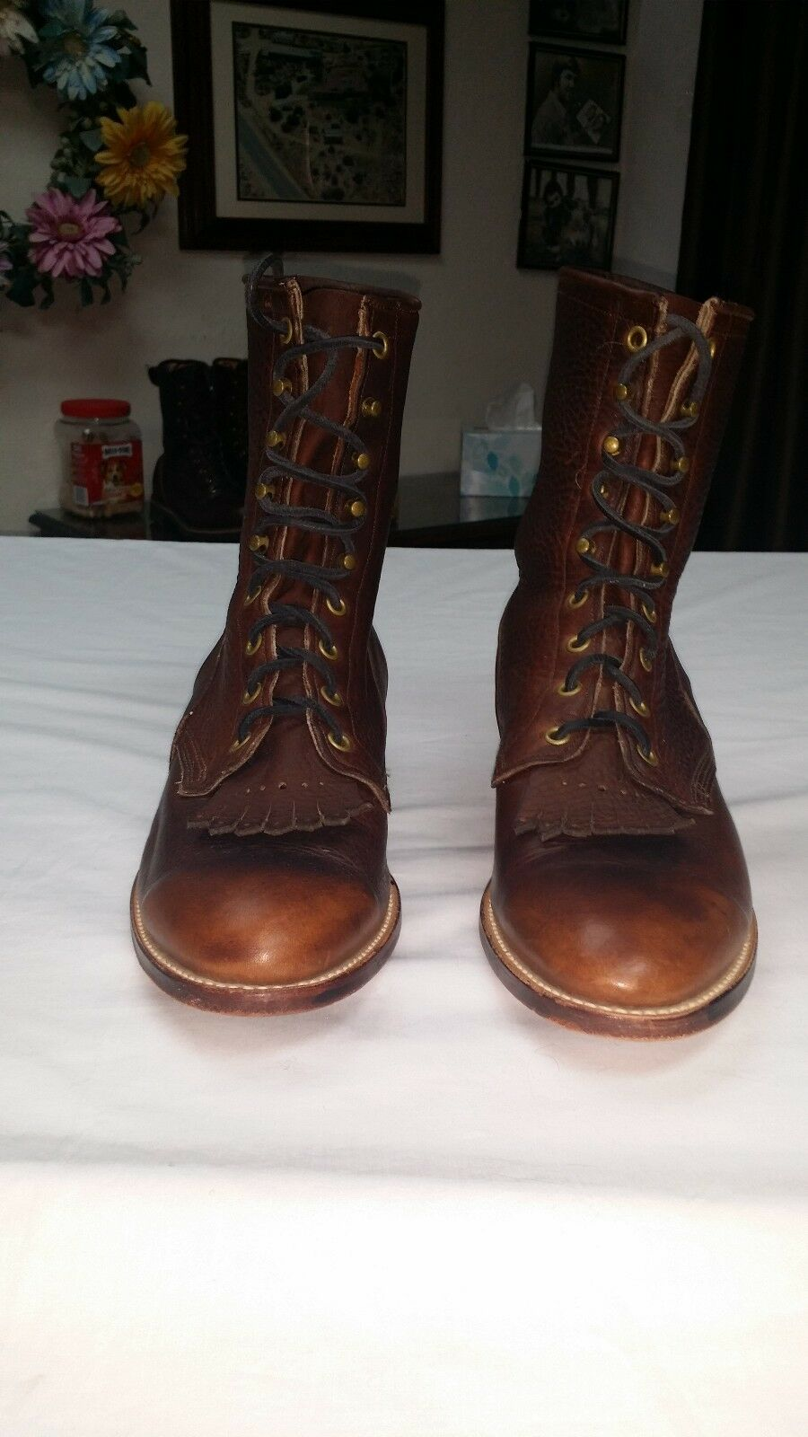 LARRY MAHEM  WESTERN  LACE UP BOOTS WITH SPUR SHELF  STYLE 4245 MADE IN USA