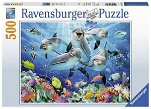 Ravensburger-Jigsaw-Puzzle-DOLPHINS-Sea-Life-Fish-500-Piece