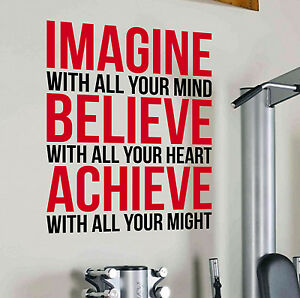 Imagine Believe Achieve Gym Wall Decal Quote Sports