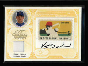 KERRY-WOOD-2005-LEAF-CENTURY-COLLECTION-JERSEY-STAMP-RELIC-AUTO-3-5-FC2355