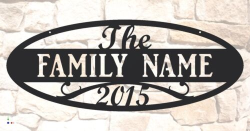 """Personalized Custom 31/"""" wide x 11-1//2/"""" tall Steel Family Name Sign Oval Shape"""