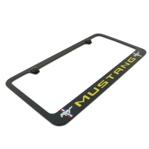 Ford Mustang Yellow Dual Logo Black Metal License Plate Frame