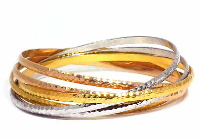 Jewelry & Watches Amicable Armreif 6teiliges Set Silber Gold Rosegold Gehämmert