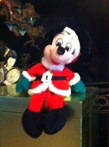 Vintage-Mickey-Mouse-Santa-Claus-Plush-Stuffed-Animal-Beanie-Toy