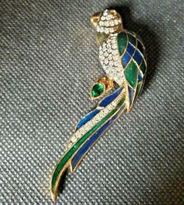 Enamel-amp-crystal-blue-green-Large-Parrot-Brooch-pin-bling-animal-gold-tone
